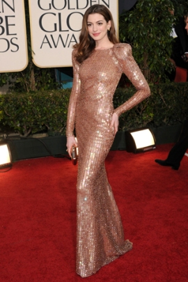 Anne Hathaway wearing Armani Prive.